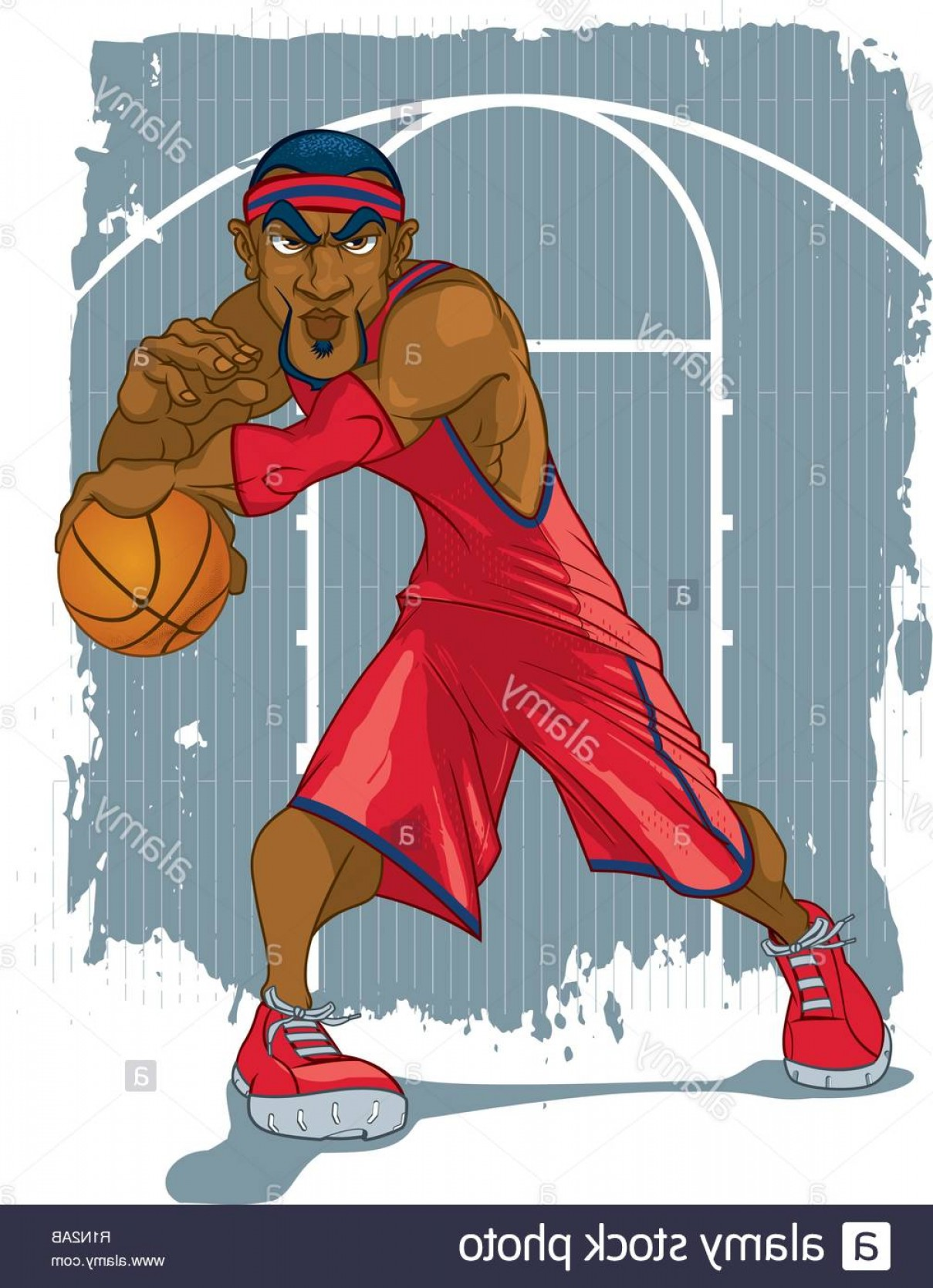 NBA Jersey Vector Art: A Basketball Player In A Red Jersey Striking A Dynamic Pose Against A Grungy Basketball Court Backdrop Image