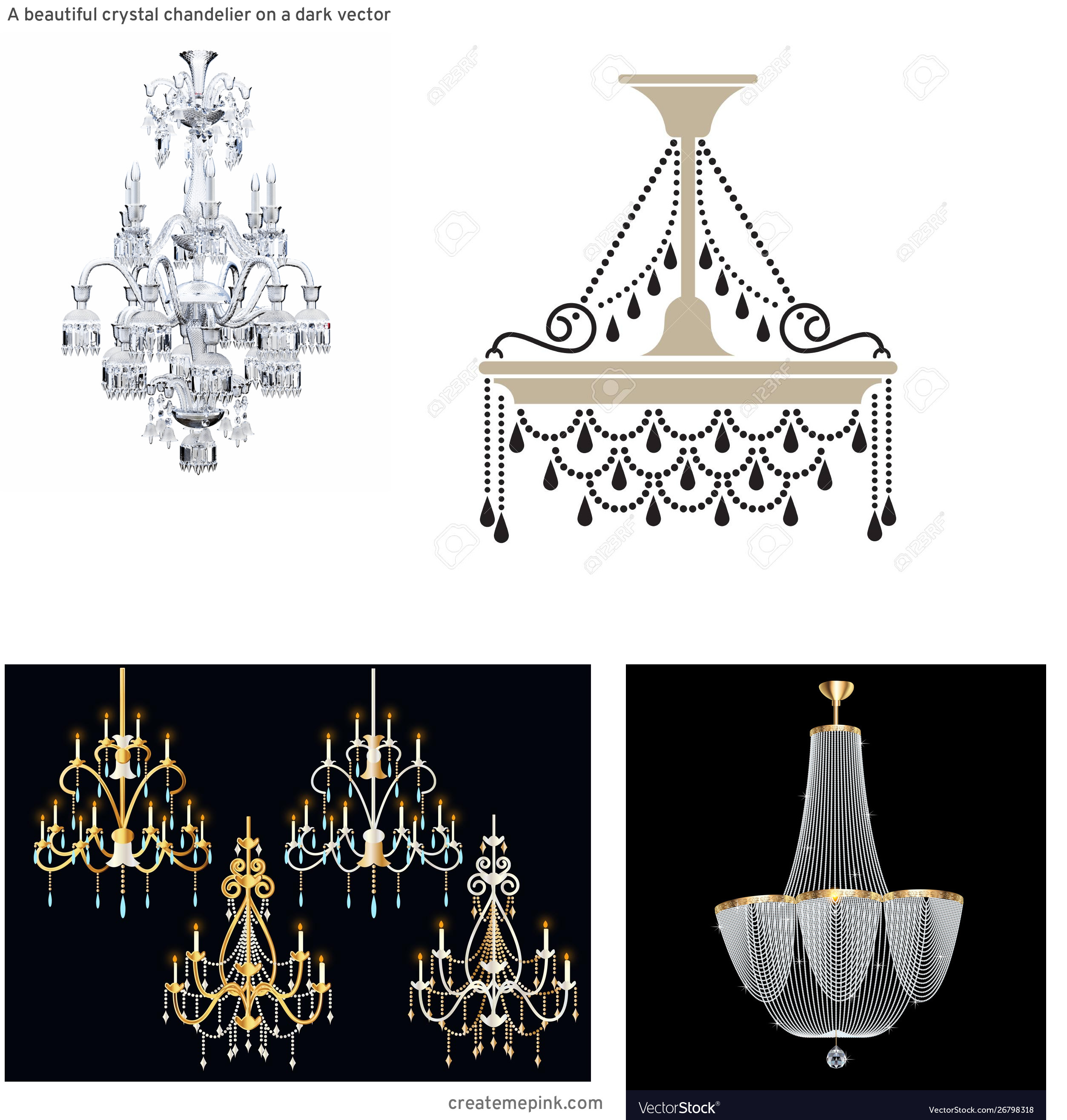 Vector Crystal Chandelier: A Beautiful Crystal Chandelier On A Dark Vector