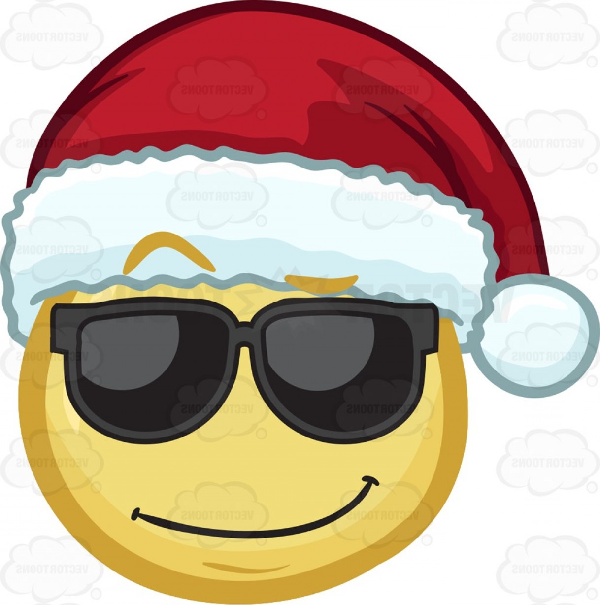 Santa Hat Vector Logo: A Cool Looking Emoji Wearing A Santa Hat