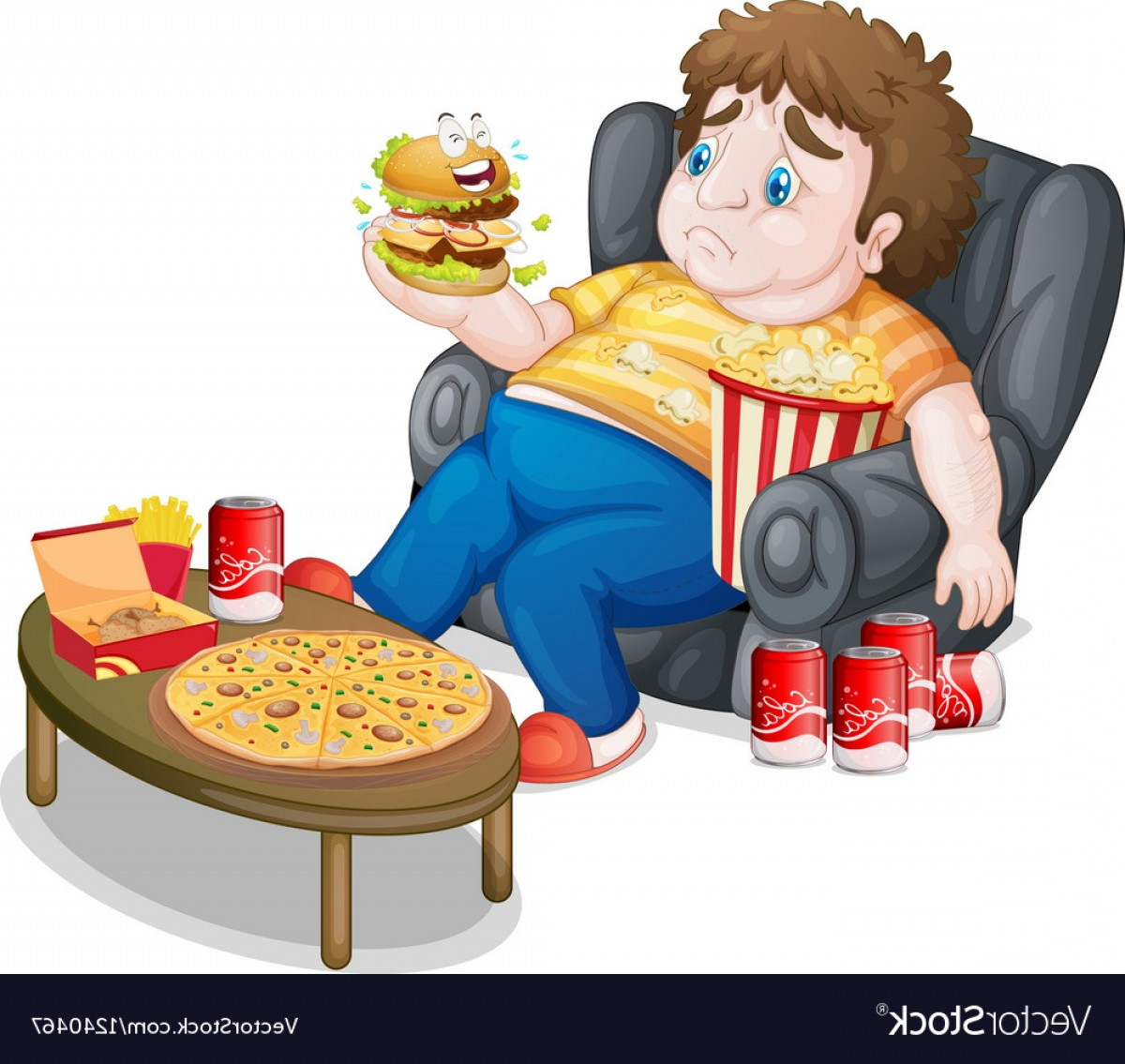 Fat Boy Logo Vector Art: A Fat Boy Eating Vector