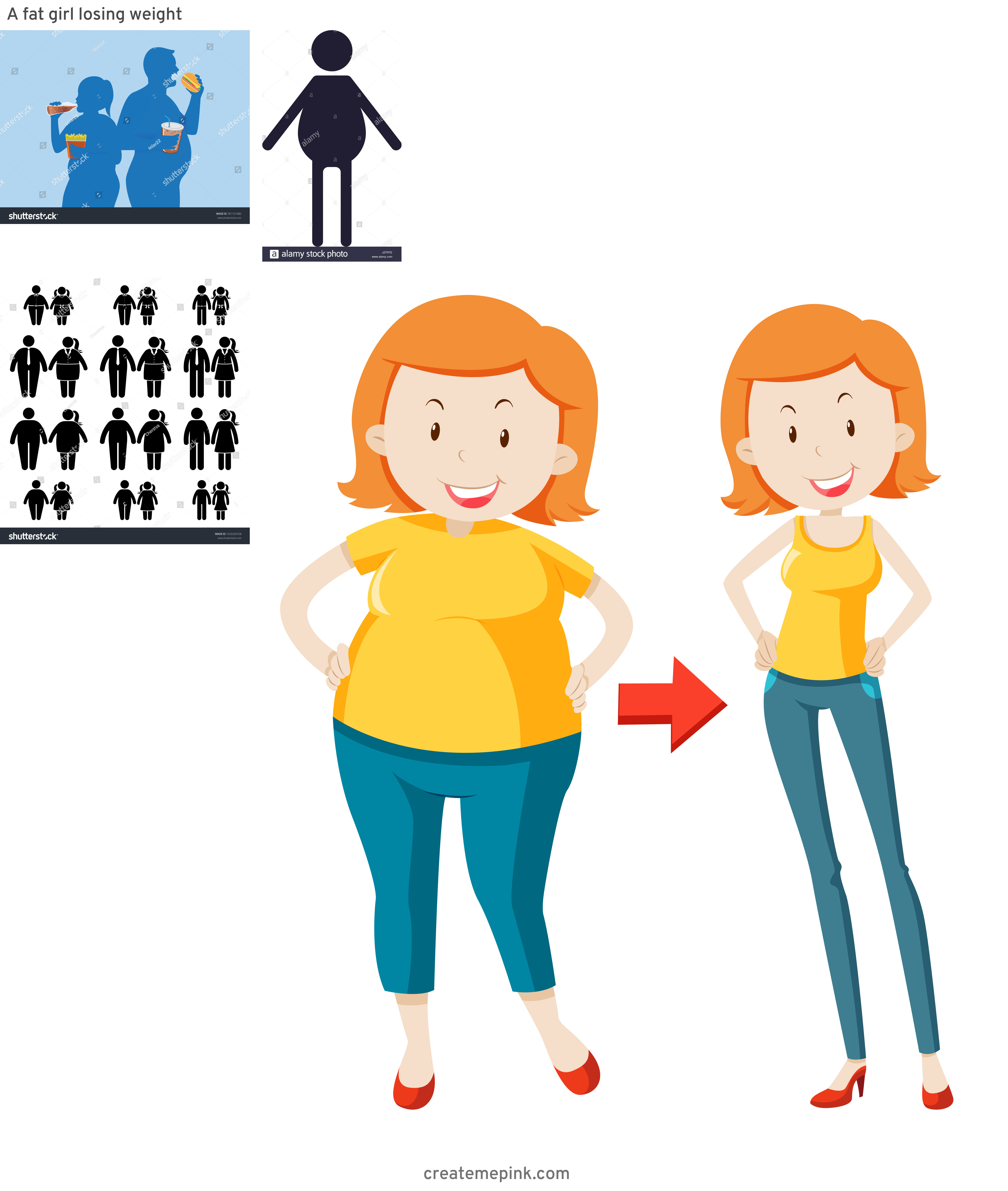 People Silhouette Vector Illustration Of Fat: A Fat Girl Losing Weight