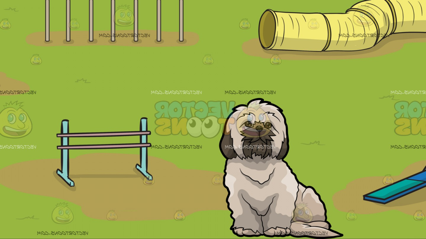Shih Tzu Clipart-Vector: A Fluffy Shih Tzu Dog With An Dog Agility Course Background