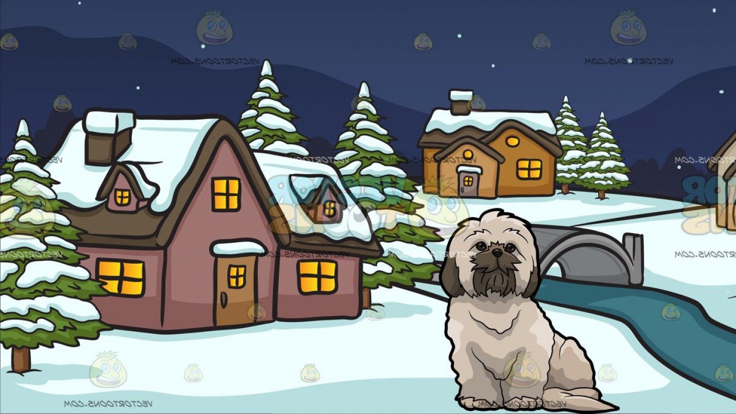 Shih Tzu Clipart-Vector: A Fluffy Shih Tzu Dog With Winter Night In A Small Town Background