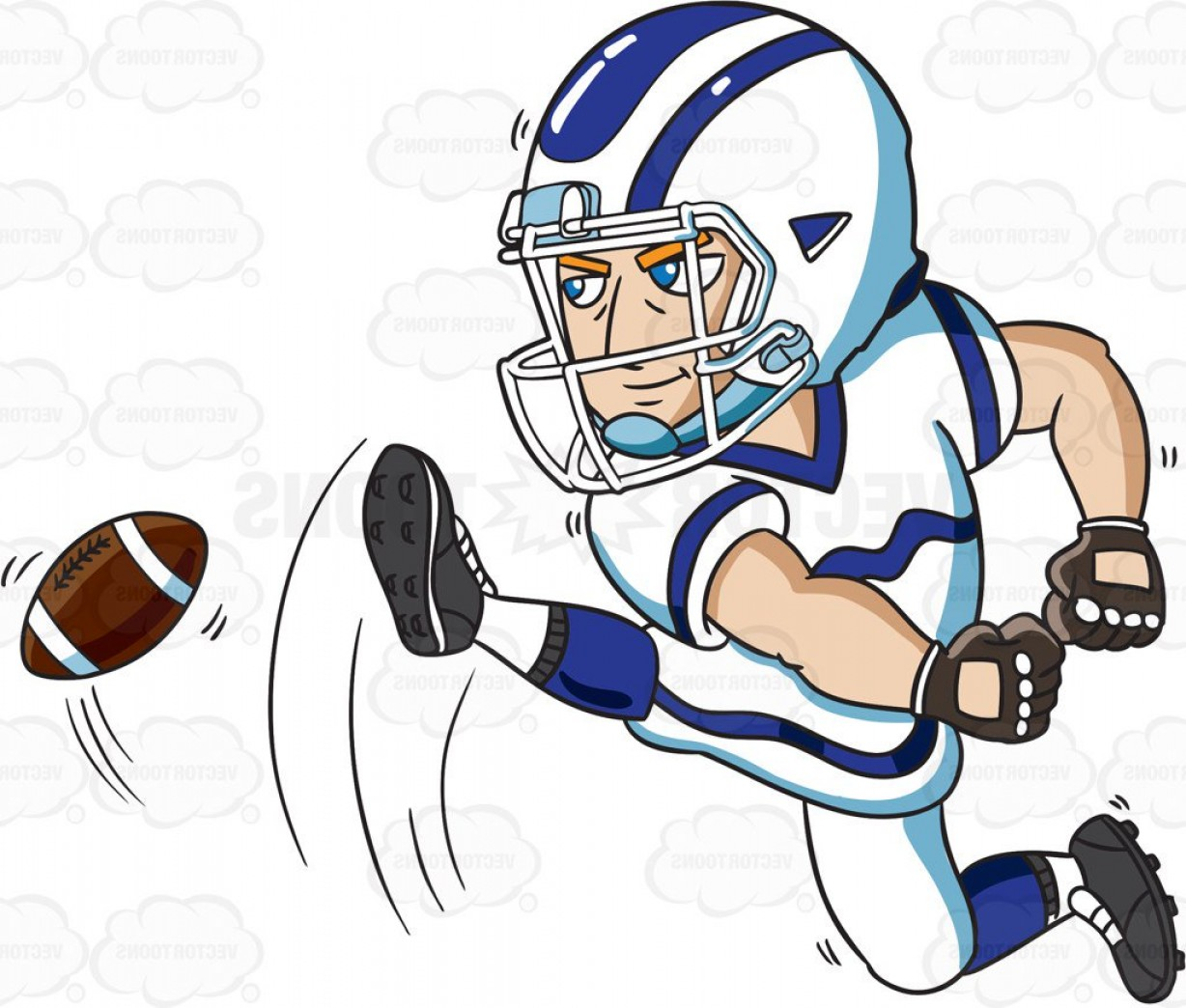 Distressed Football Helmet Vector: A Football Kicker Starting The Play