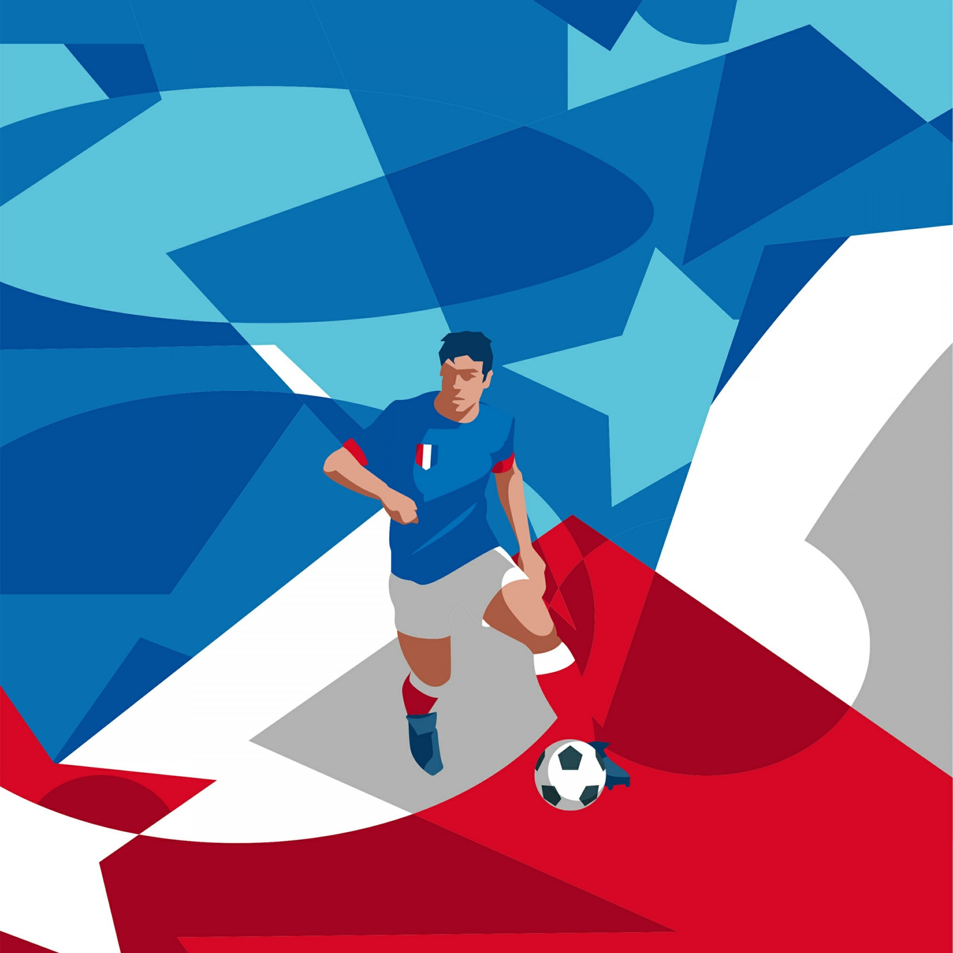 Soccer Blue Background Vector Graphics: A Football Player Vector Graphic Soccer Football Sports Qhd Wallpaper