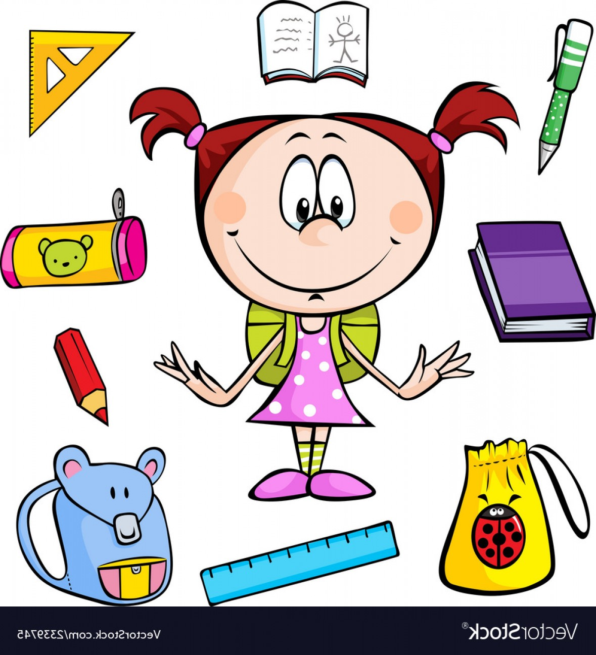 Supplies Vector Graphic: A Girl With School Supplies Vector