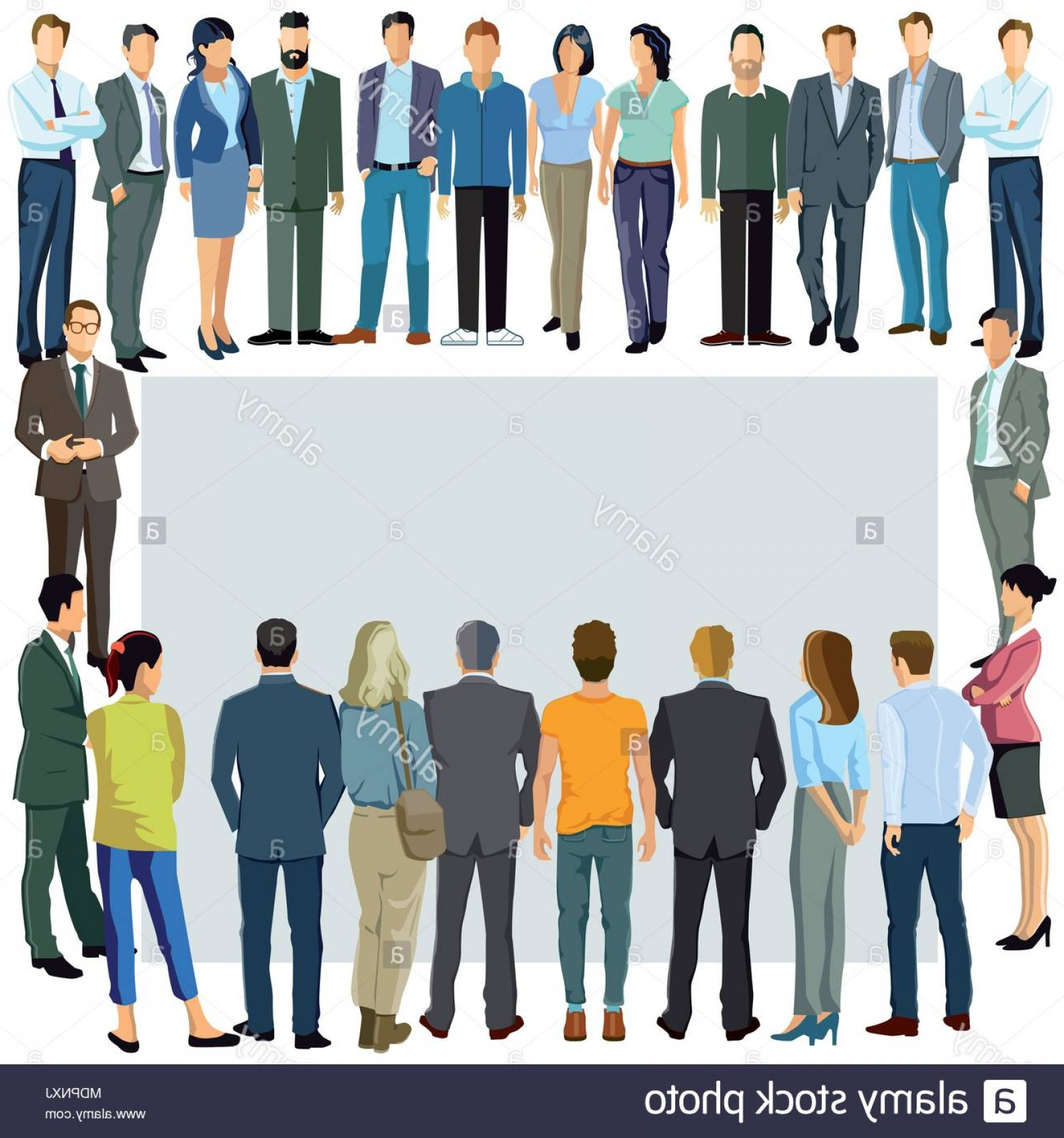 People Standing Vector: A Group Of People Stand Together Image
