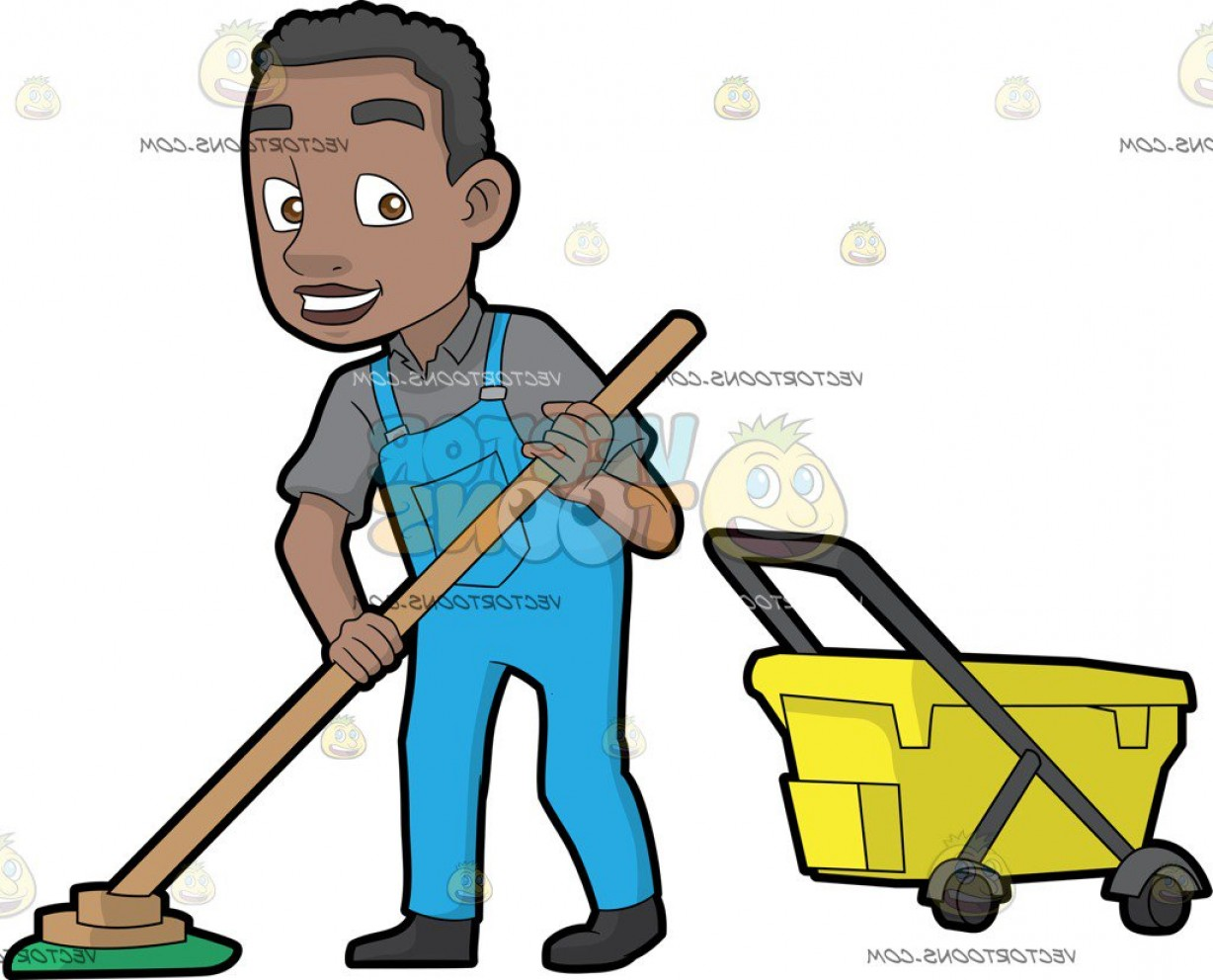 Mop And Bucket Clip Art Vector: A Happy Black Janitor Mopping The Floor