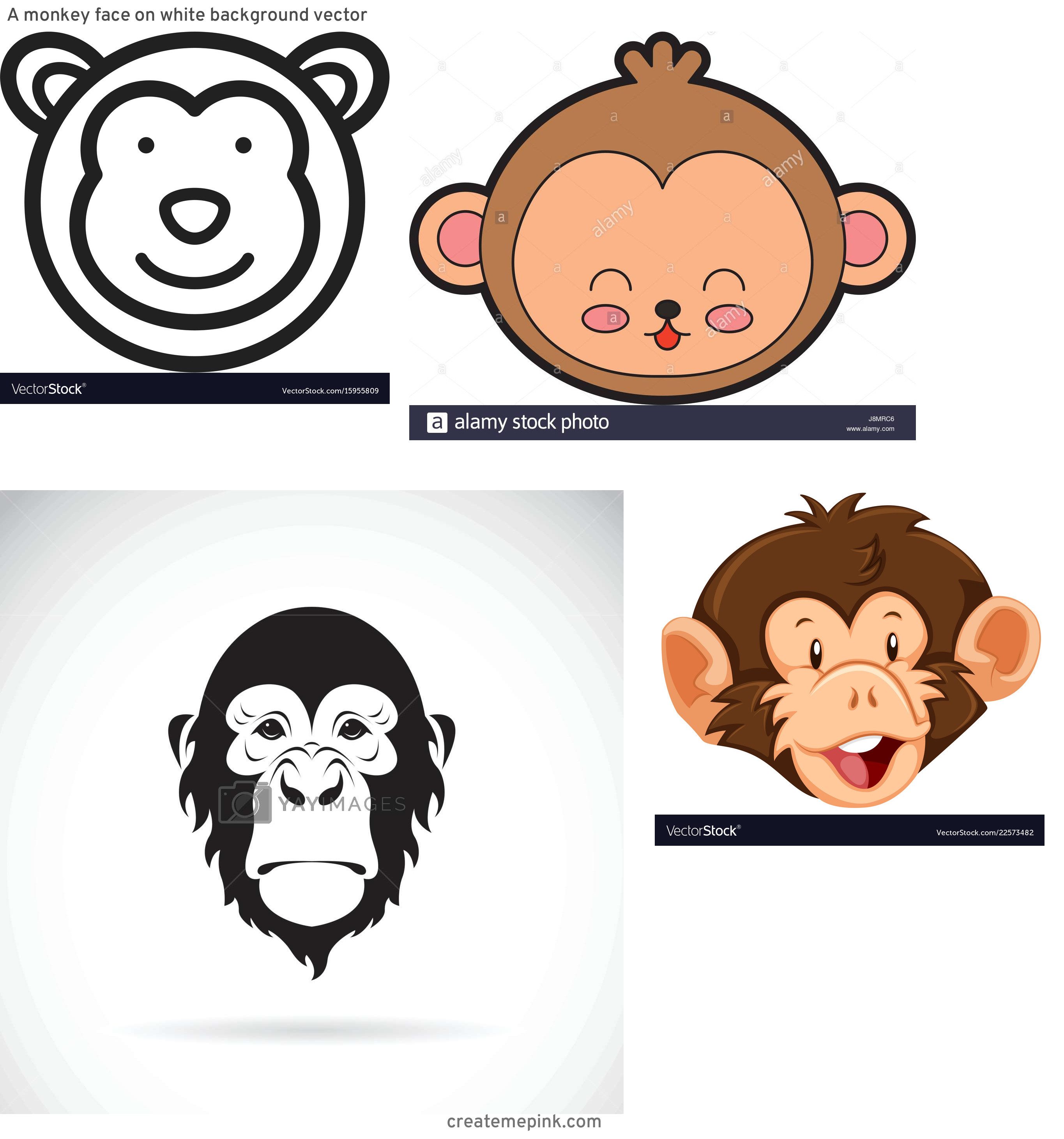 Monkey Face Vector: A Monkey Face On White Background Vector