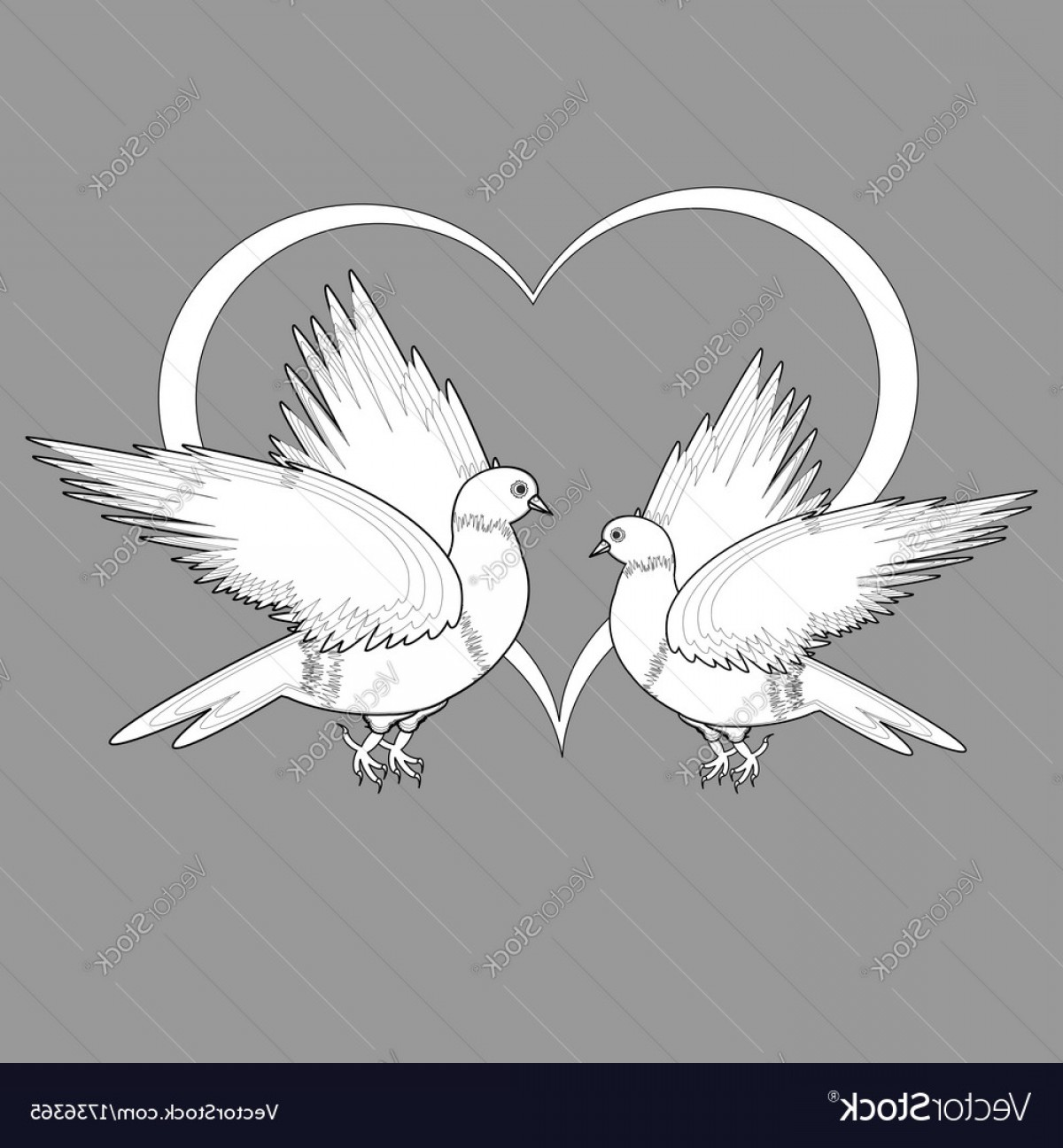 Vector Wedding Doves 2: A Monochrome Sketch Of Two Doves And A Heart Vector