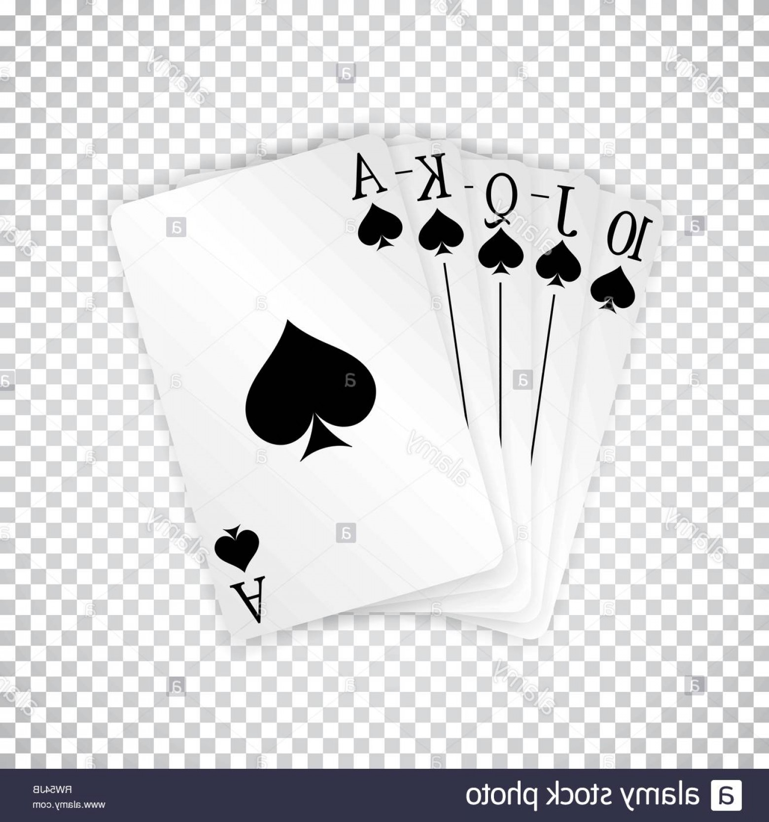 Poker Hand Vector: A Royal Straight Flush Playing Cards Poker Hand In Spades Image