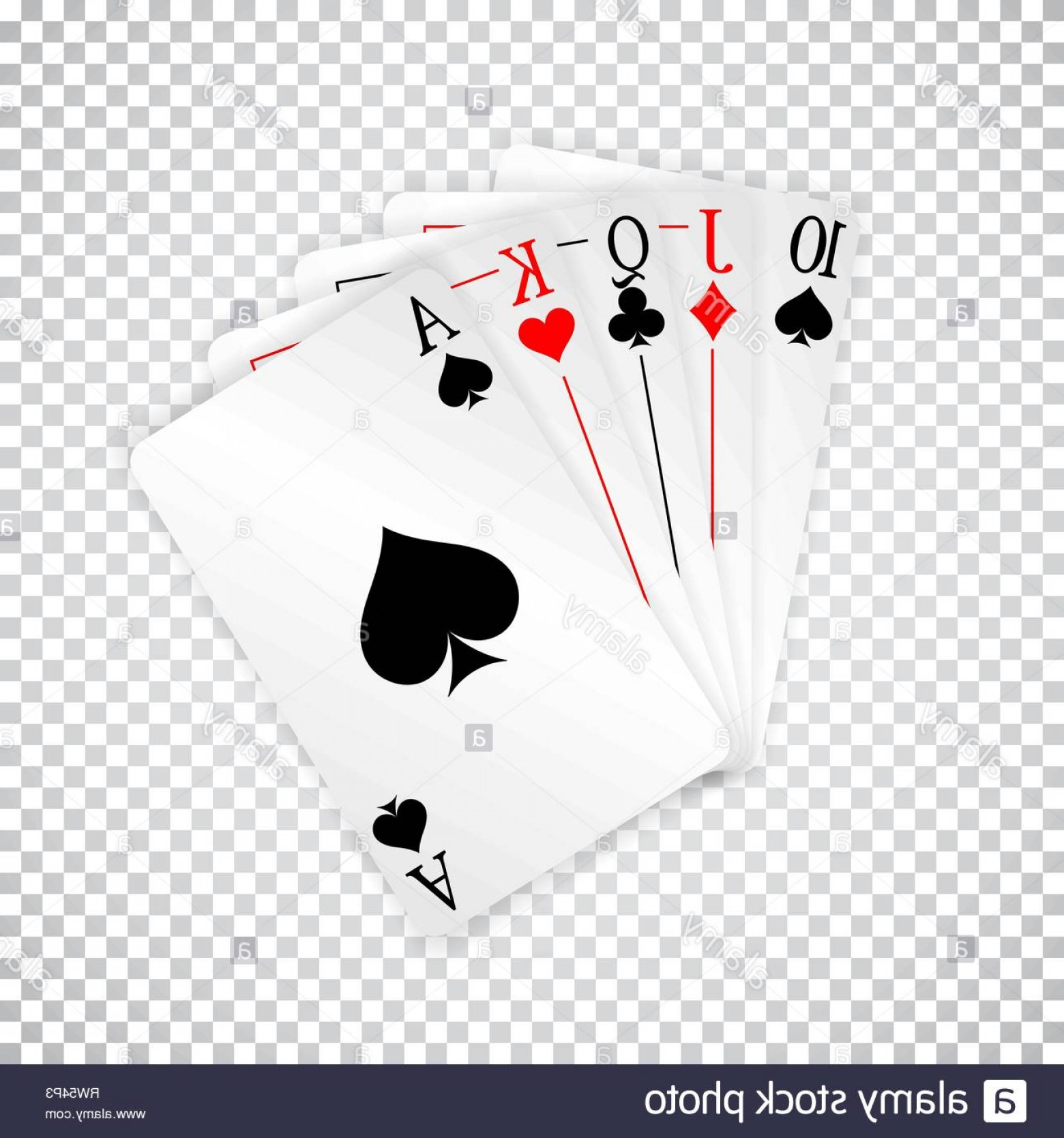 Poker Hand Vector: A Royal Straight Playing Cards Poker Hand Image