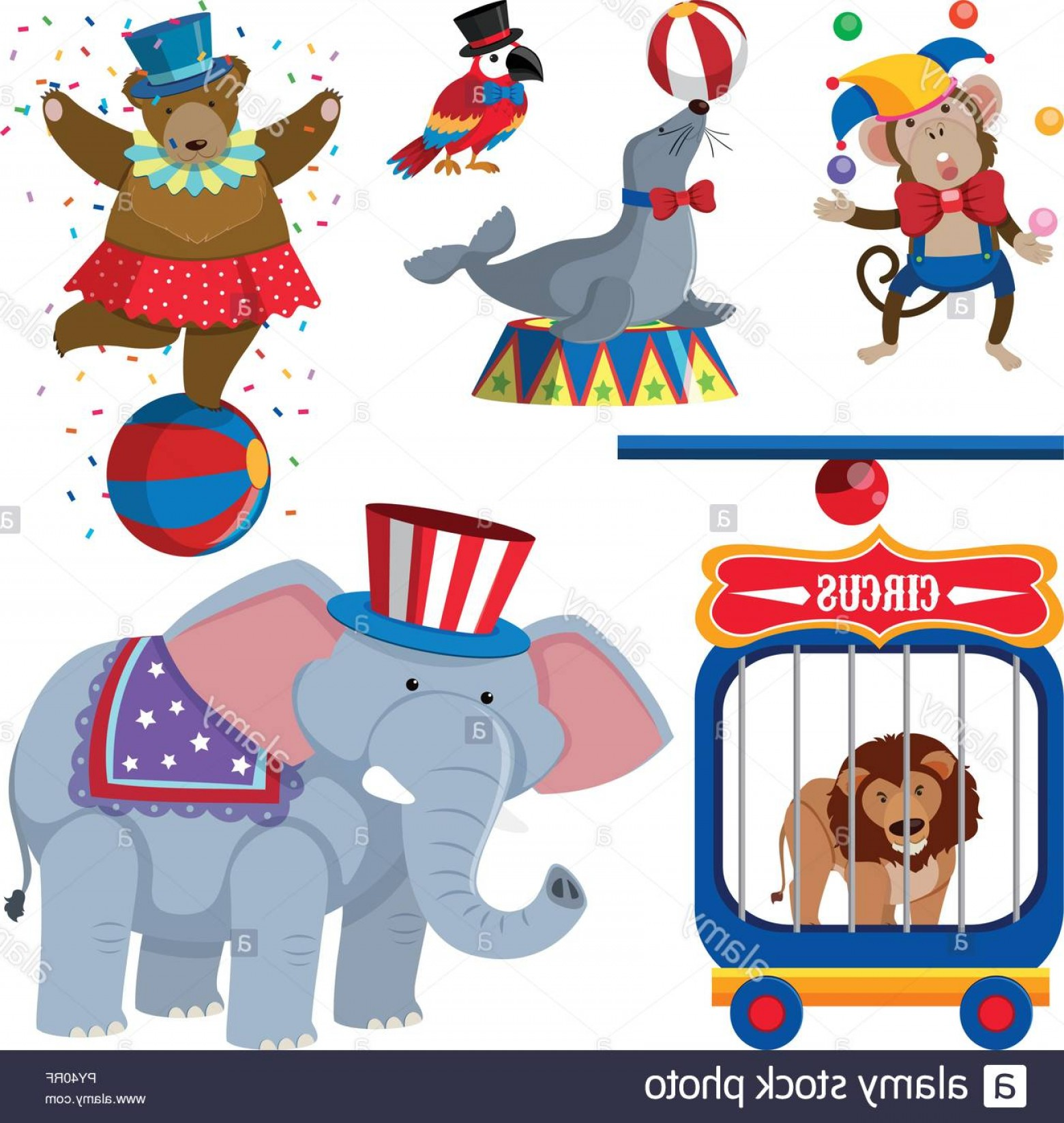 Circus Animals Vector Graphic: A Set Of Circus Animals Illustration Image