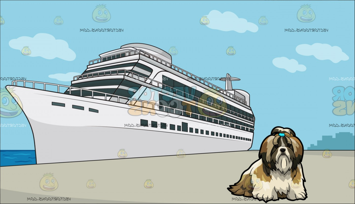 Shih Tzu Clipart-Vector: A Shih Tzu Pet Dog With A Luxury Cruise Ship Liner Background