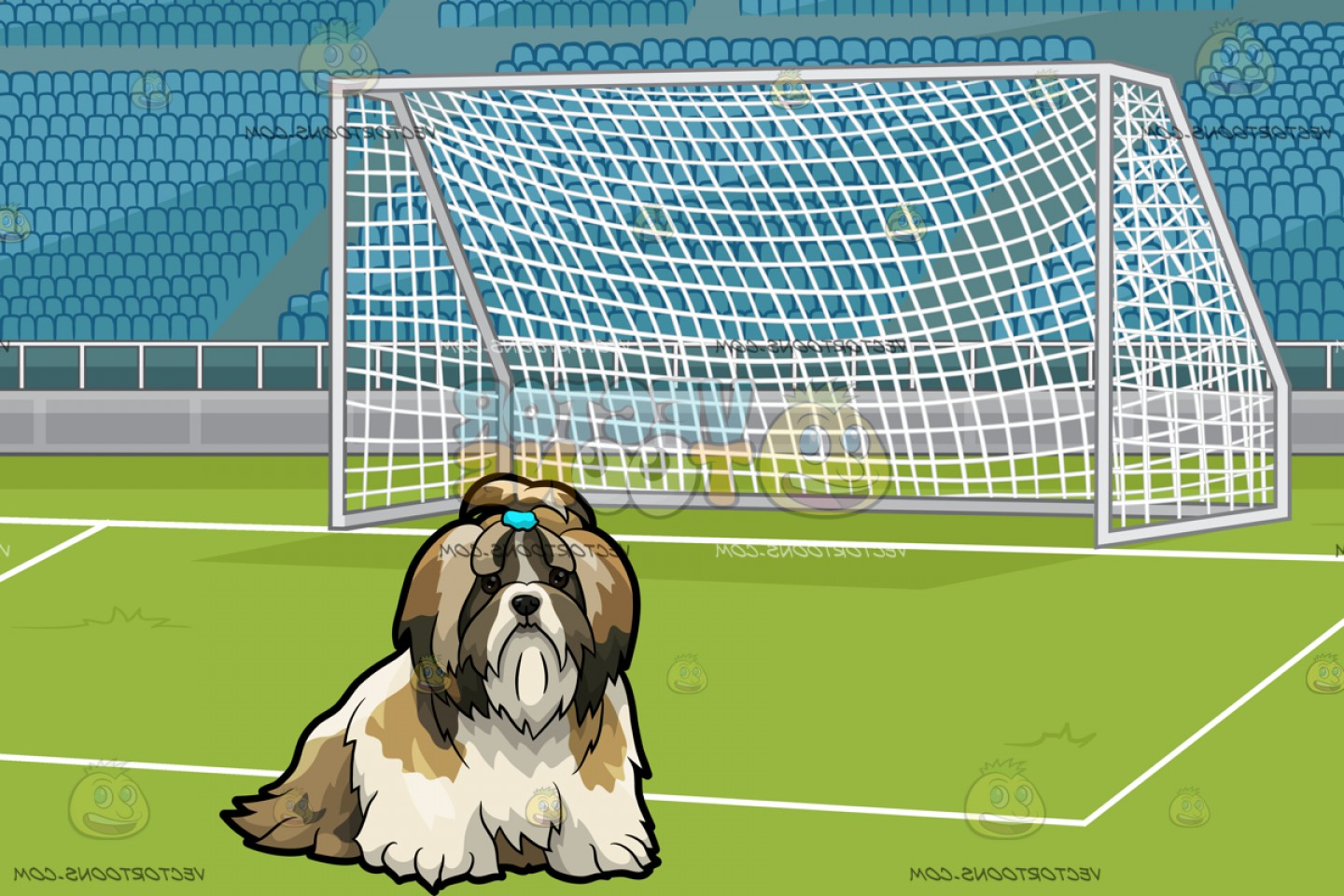 Shih Tzu Clipart-Vector: A Shih Tzu Pet Dog With A Soccer Field With Stadium Seating Background