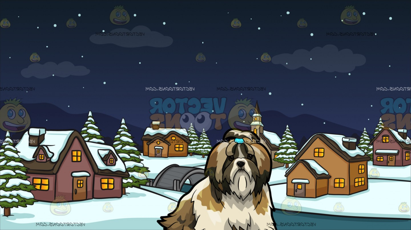 Shih Tzu Clipart-Vector: A Shih Tzu Pet Dog With Winter Night In A Small Town Background