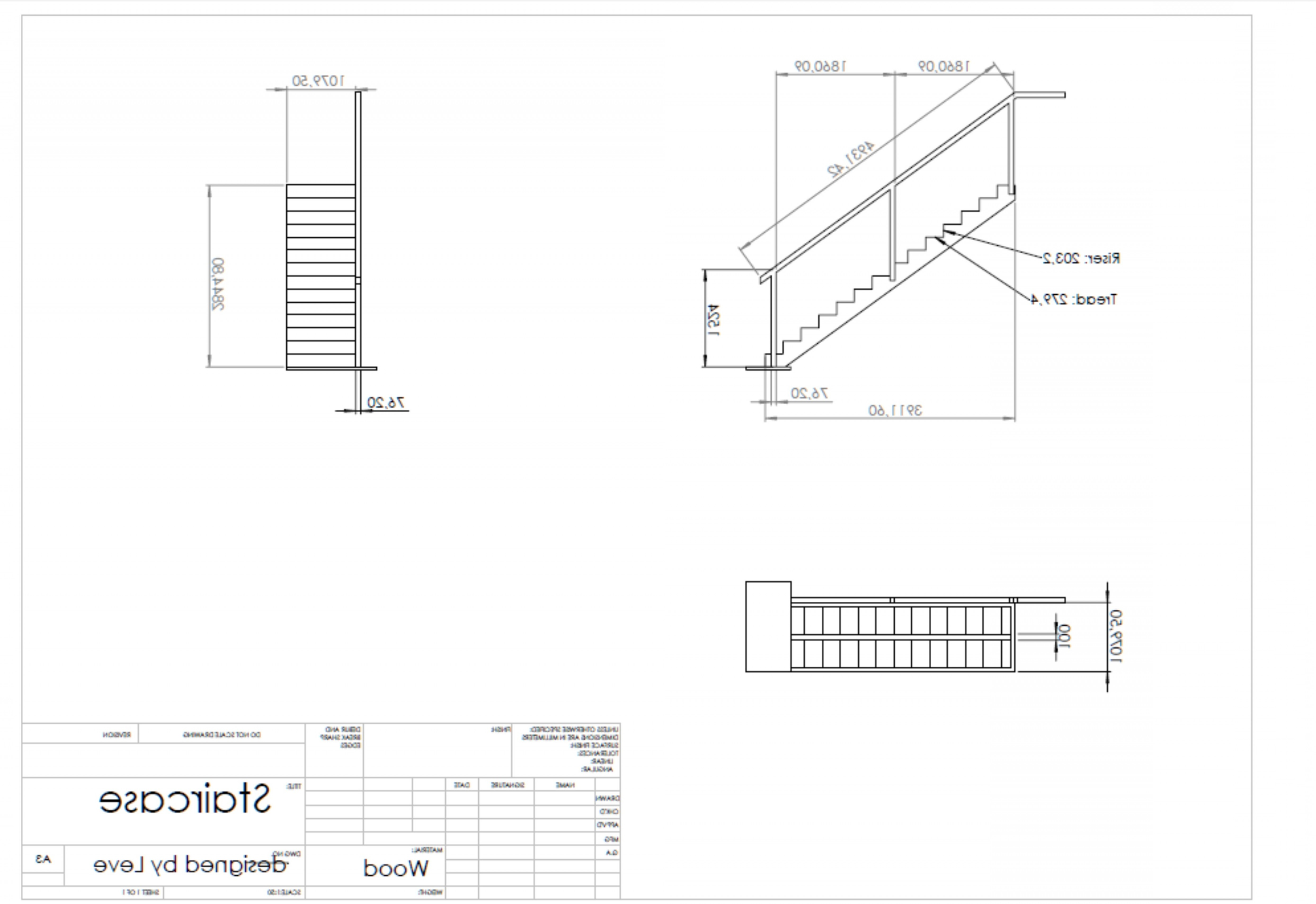 Falcon 50 Vector 2D CAD Drawings: A Simple Cad Drawing For A Staircase Frame For An