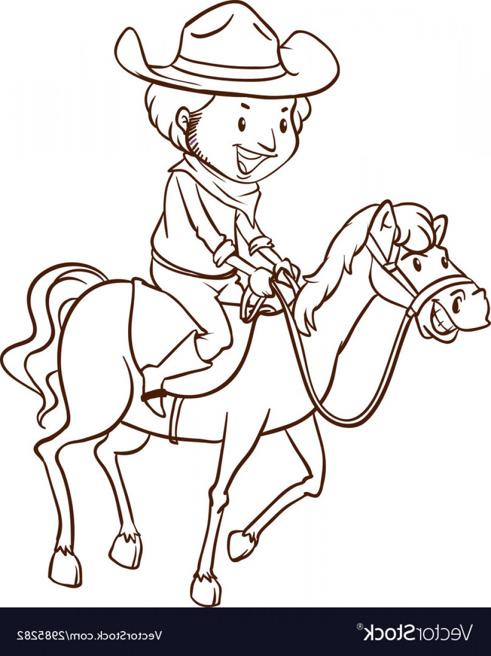 Cowboys Line Drawings Vector: A Simple Drawing Of A Cowboy Vector