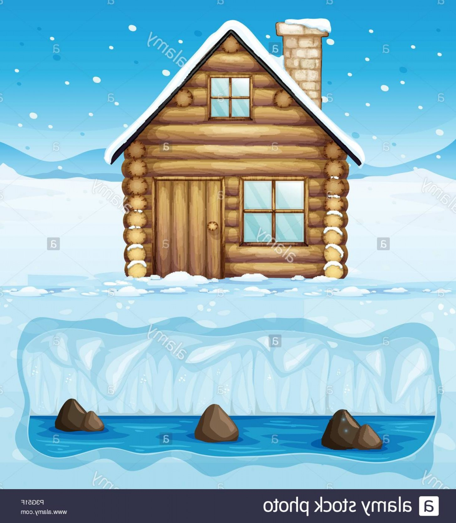 North Pole Landscape Vector: A Winter Hut In North Pole Illustration Image