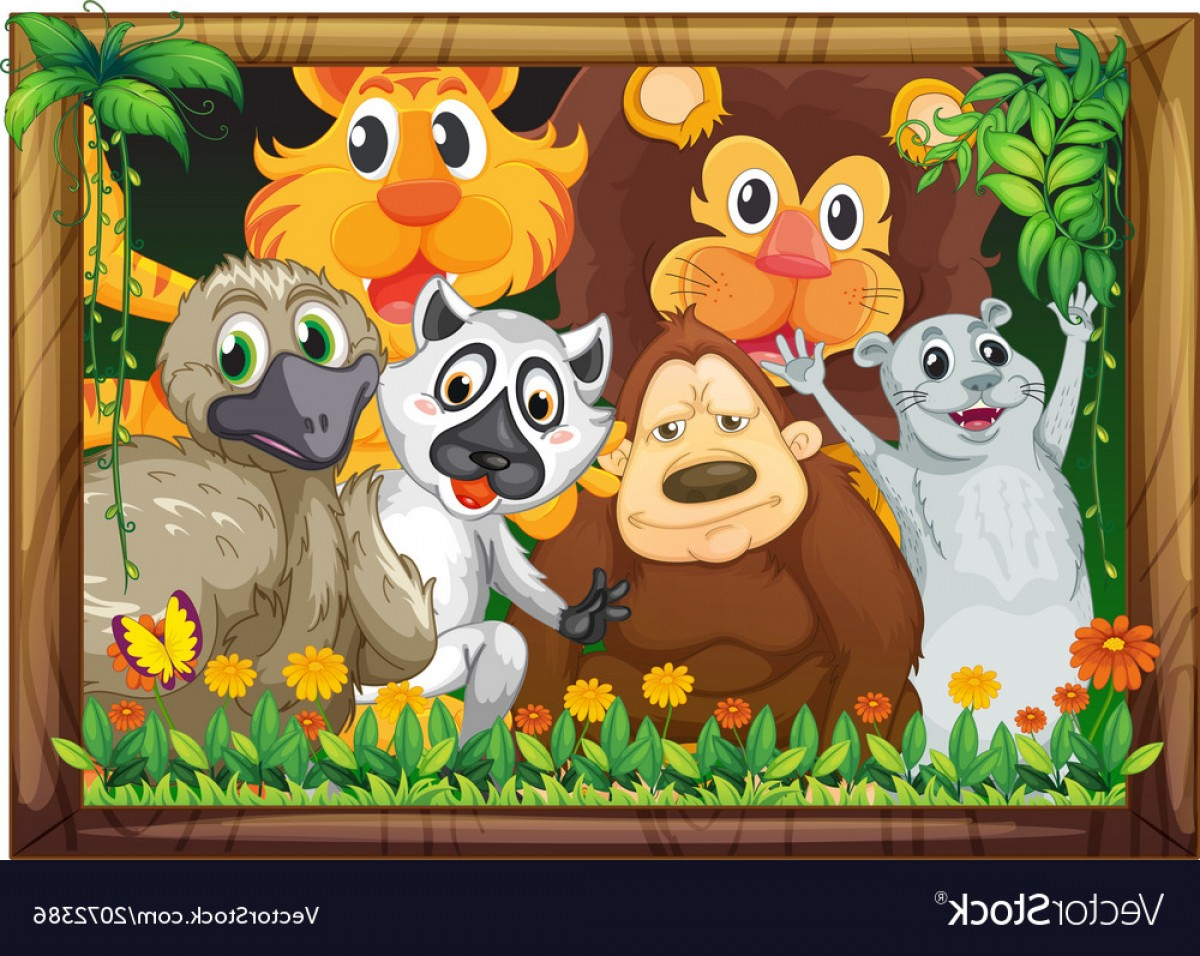 Vectorized Art Wood Border: A Wooden Frame With Animals Vector