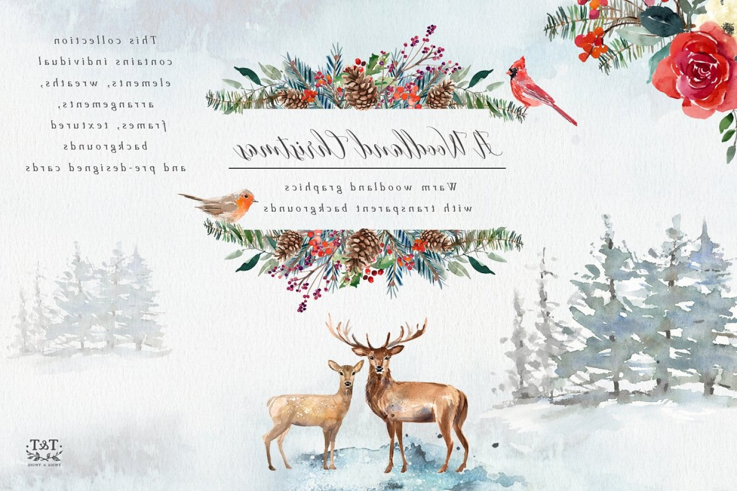 Vector-Based Christmas: A Woodland Christmas Graphic Set