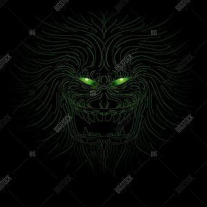 Demon Eyes Vector: A Brown Monster With Eyes Vector Or Color Illustration