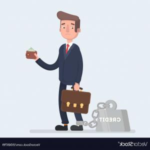 Vector Business Loan: A Business Man Is Chained To His Big Heavy Loan Vector