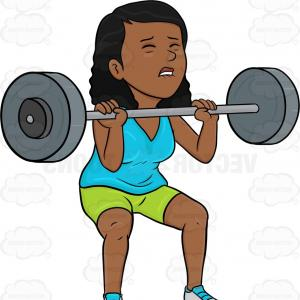 Vector Weight Lifting: A Dark Haired Woman Lifting A Heavy Barbell