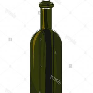 Wine Bottle Vector Illustration: A Green Empty Wine Bottle Vector Color Drawing Or Illustration Image