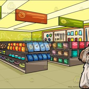 Shih Tzu Clipart-Vector: A Pretty Shih Tzu Dog With Long School Hallway With Lockers Background