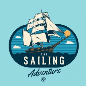 Sail Vector: A Sailing Boat With Ship Wheel Vector Or Color Illustration