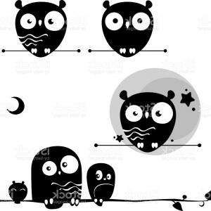 Vector Art Wisdom: A Set Of Simple Flat Cute Owls Symbols Of Wisdom Gm