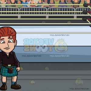 Vector Wrestling Audience: A Sleek Man In Kilt At A Wrestling Ring Inside An Arena