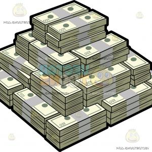 Hundreds Of Money Stacks Vector: A Square Mountain Of A Hundred Dollar Bills