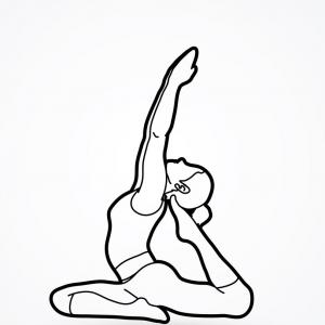 Vectors Graphic Yoga: A Woman Practicing Yoga Yoga Pose Outline Graphic Vector