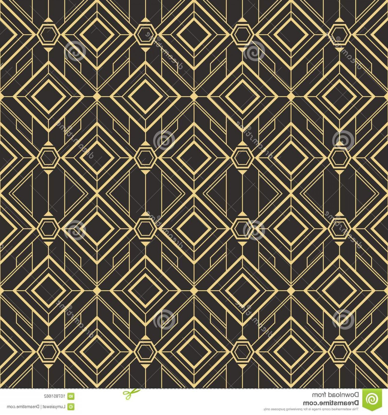 Art Deco Tile Vector Design: Abstract Art Deco Tiles Pattern Vector Modern Seamless Monochrome Background Image