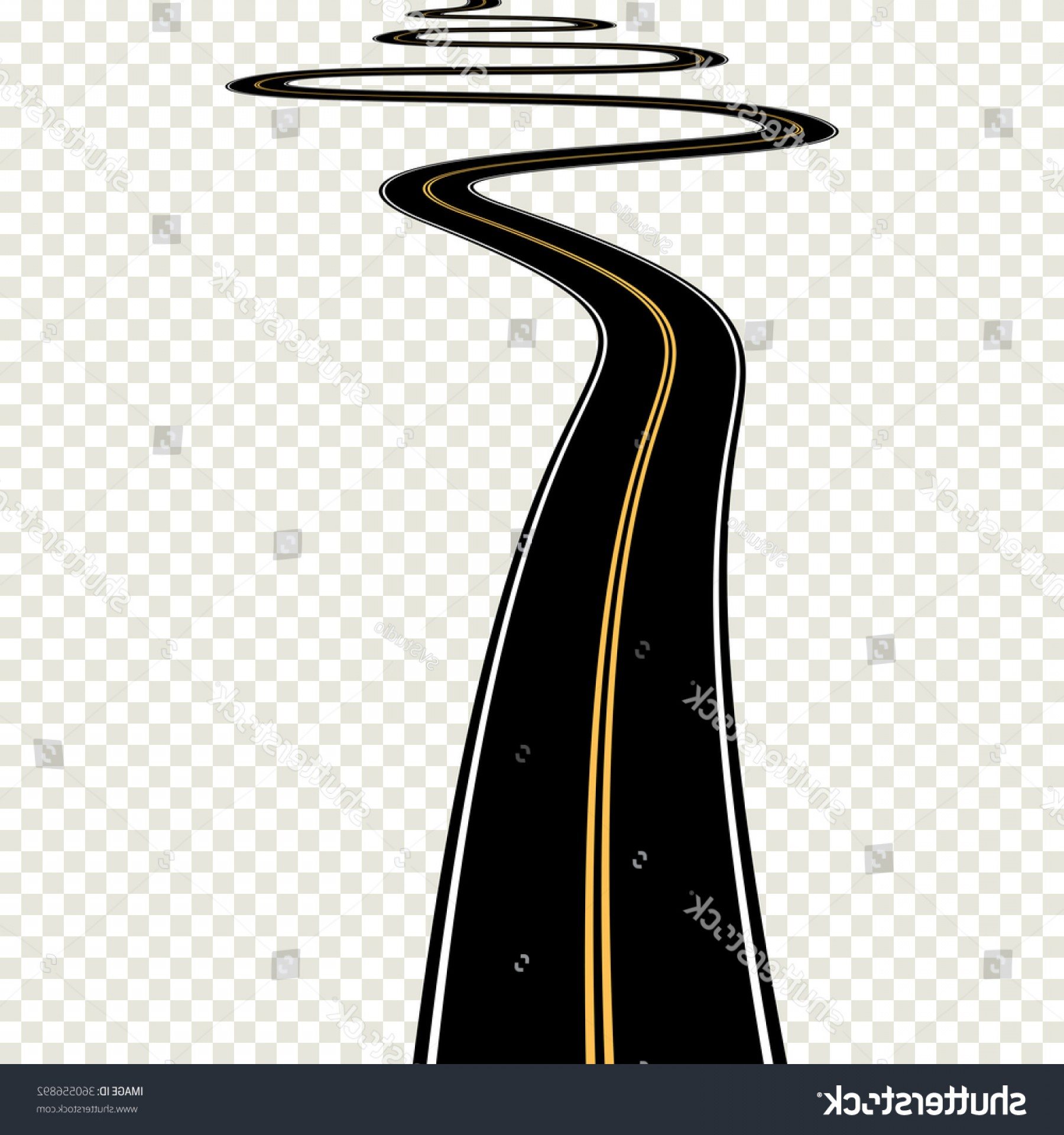 Transparent Curved Road Vector: Abstract Asphalt Curved Road Map Isolated