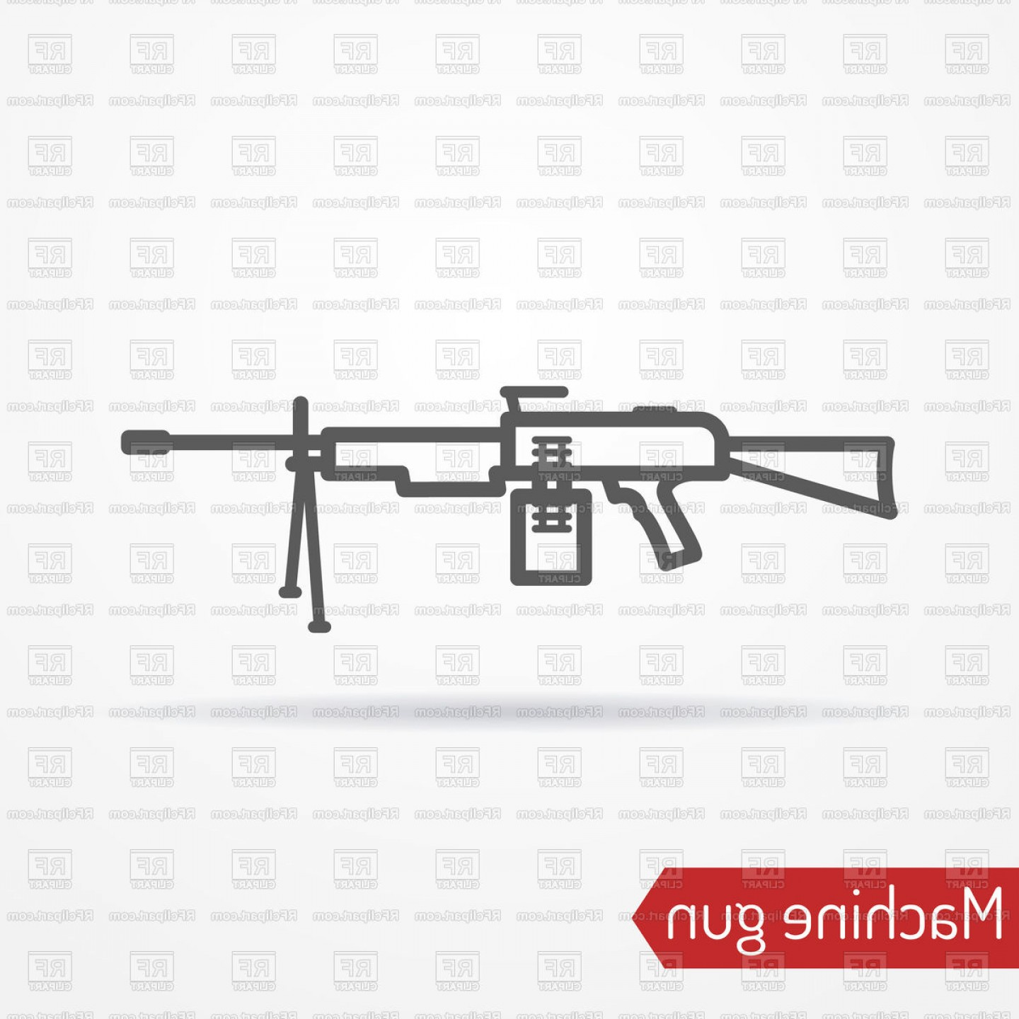 33 Rifle Vector: Abstract Assault Machine Gun In Line Style With Shadow Vector Clipart