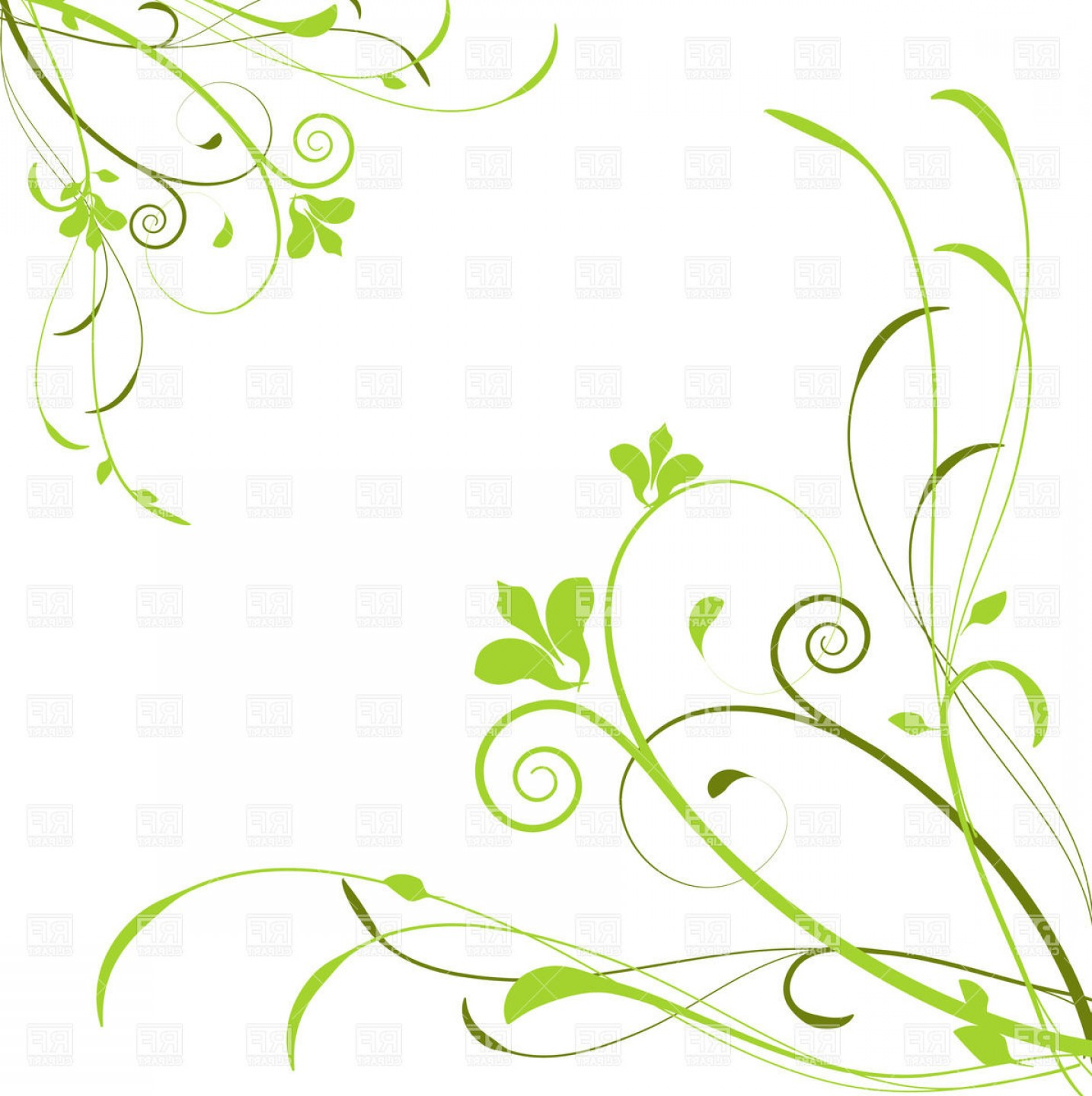 Green Flower Vector Designs: Abstract Background With Green Curly Flowers Vector Clipart