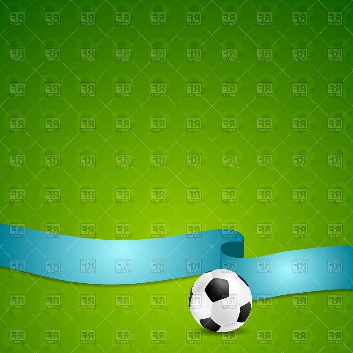Soccer Blue Background Vector Graphics: Abstract Background With Soccer Balls And Blue Ribbon Vector Clipart