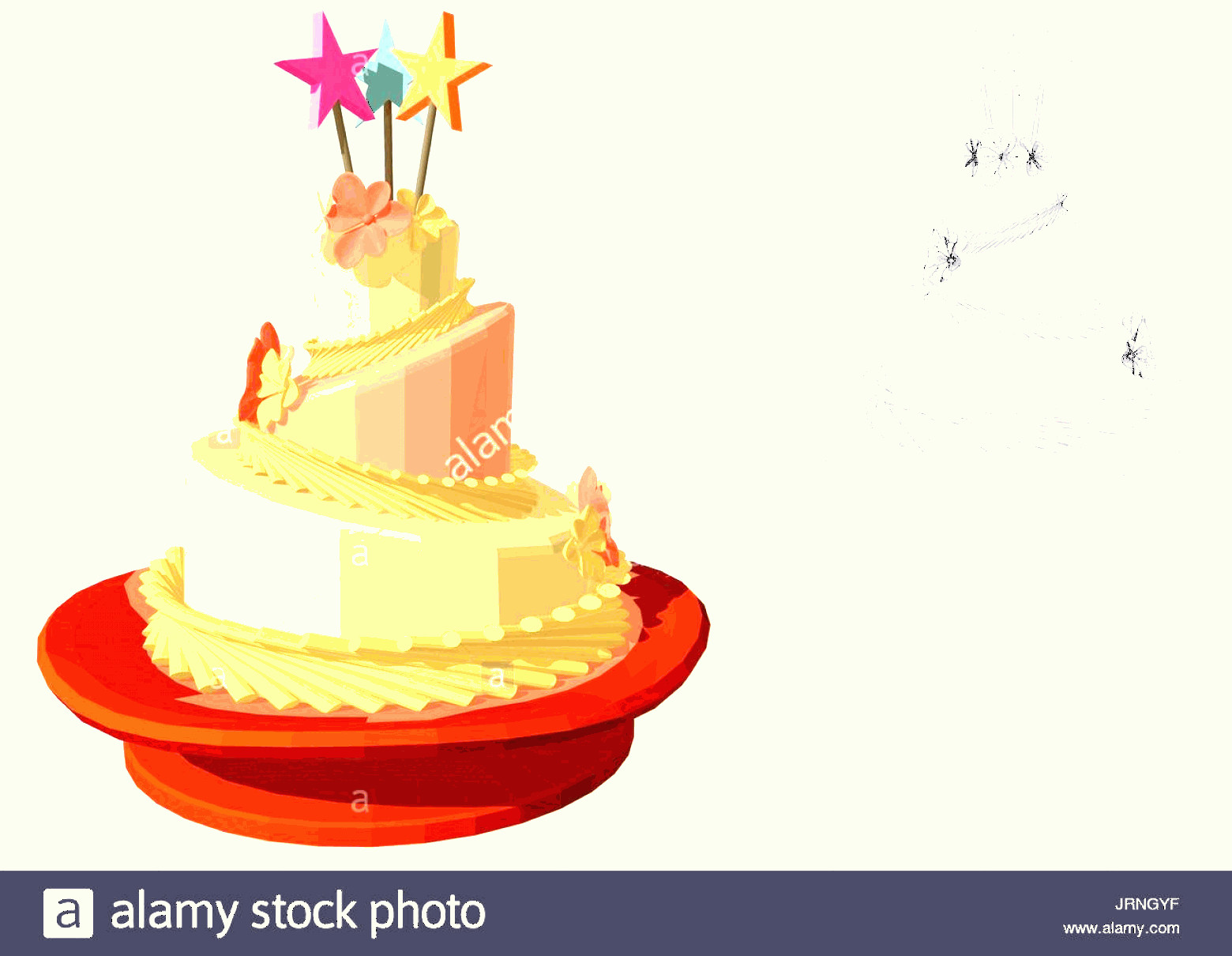 Vector Abstract Art Cake: Abstract Birthday Cake Isolated On White Background Image