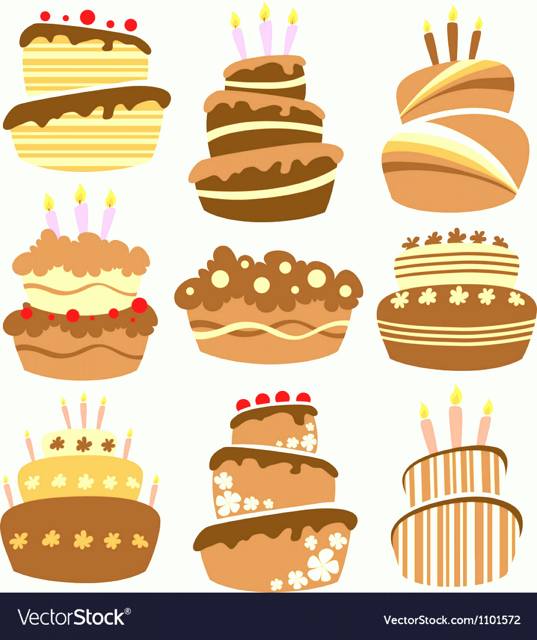 Vector Abstract Art Cake: Abstract Birthday Cake Set Vector