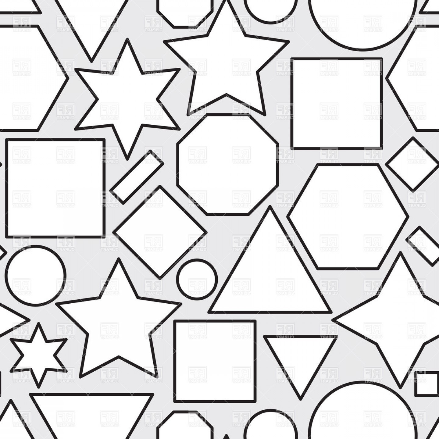 Geometric Vector B2: Abstract Black And White Seamless Pattern With Geometric Shapes Vector Clipart