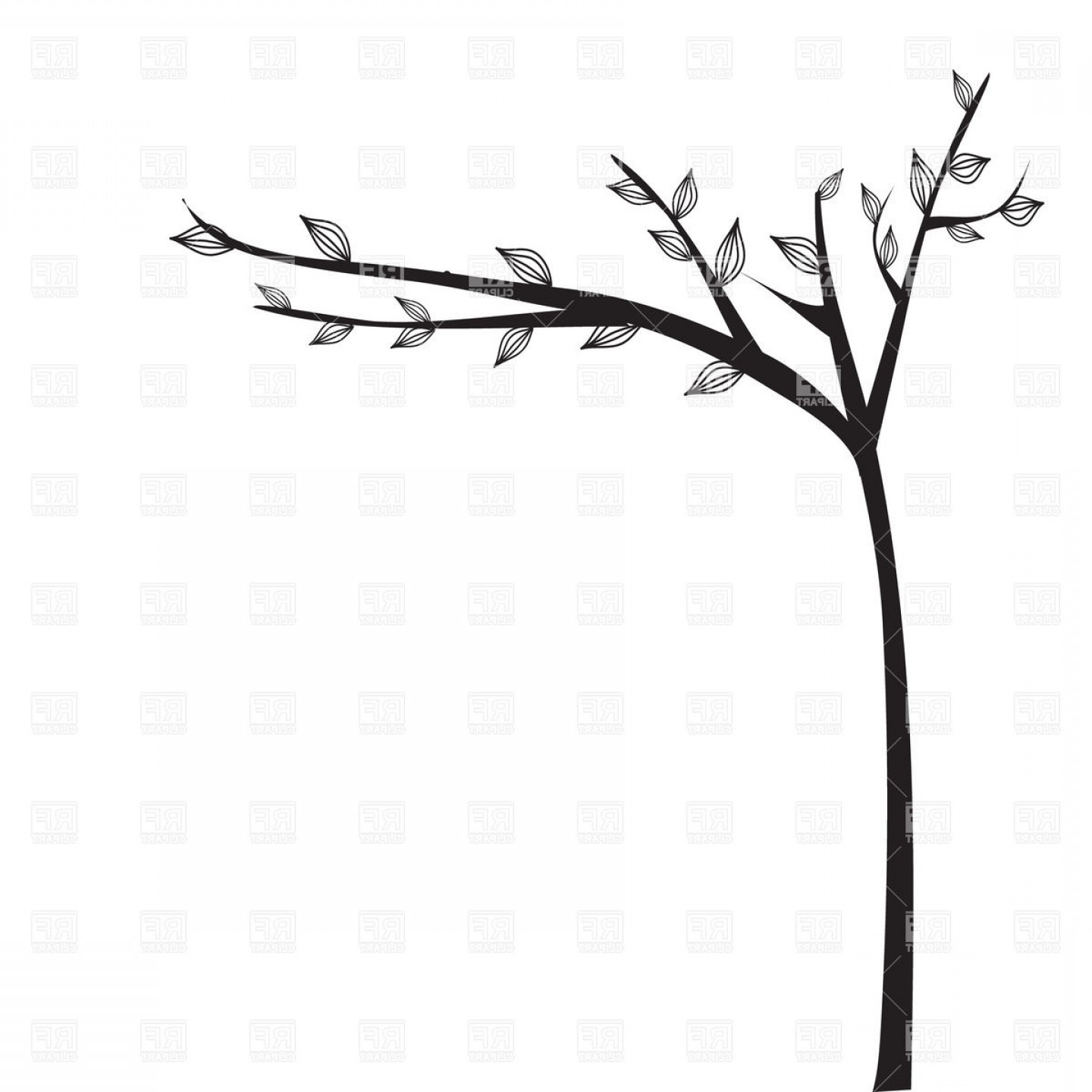 Tree Silhouette Vector Clip Art: Abstract Black Tree Silhouette Vector Clipart