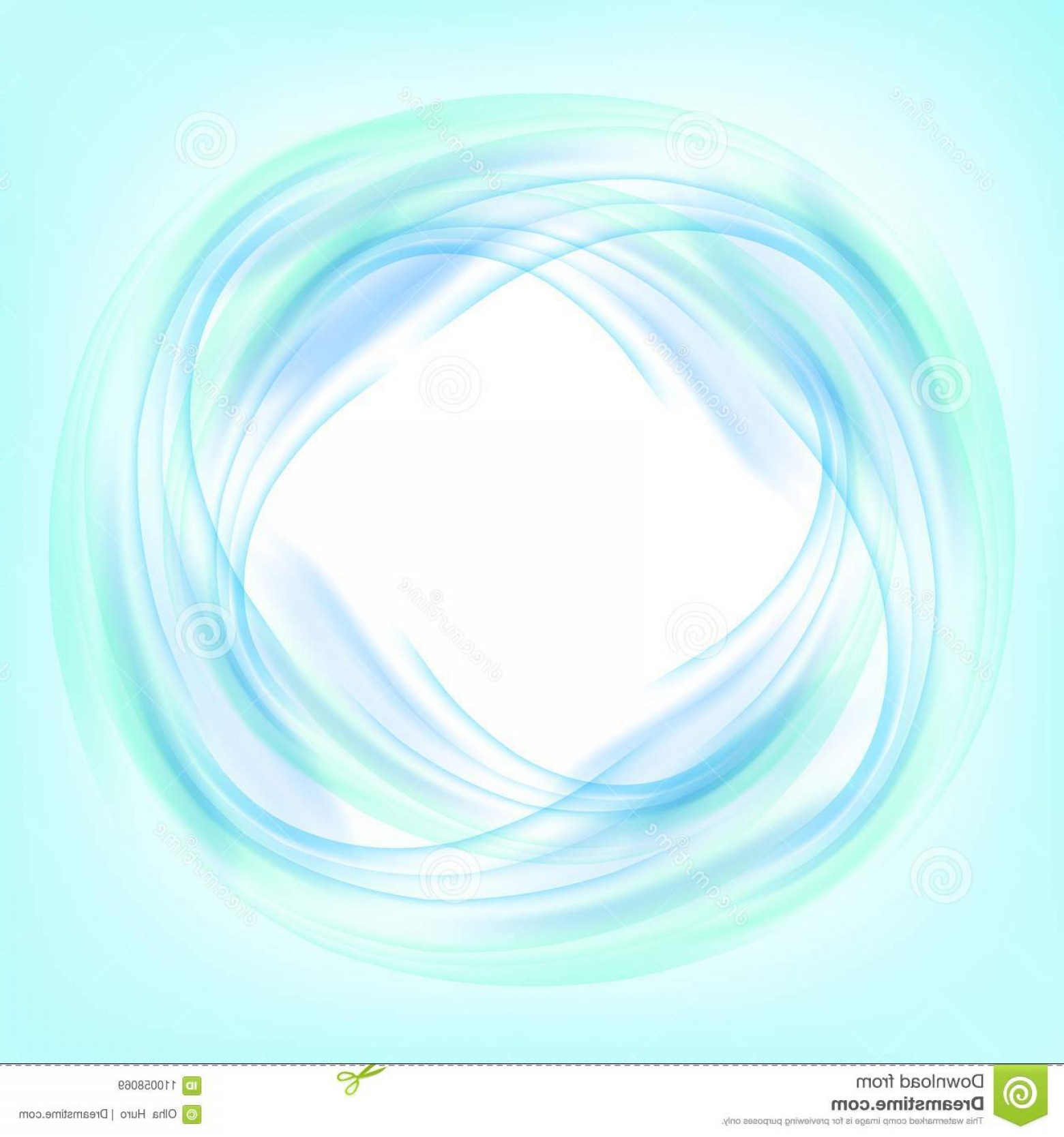 Abstract Blue Swirl Circle White Background Vector