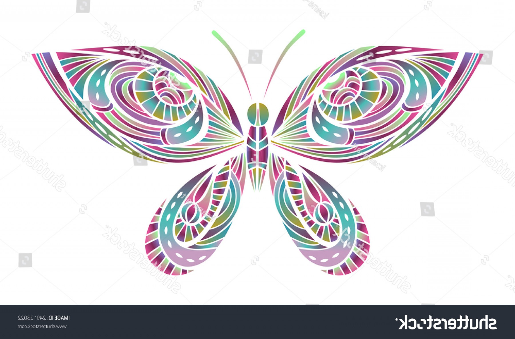 Half Abstract Butterfly Vector: Abstract Bright Butterfly Illustration Colorful Insect