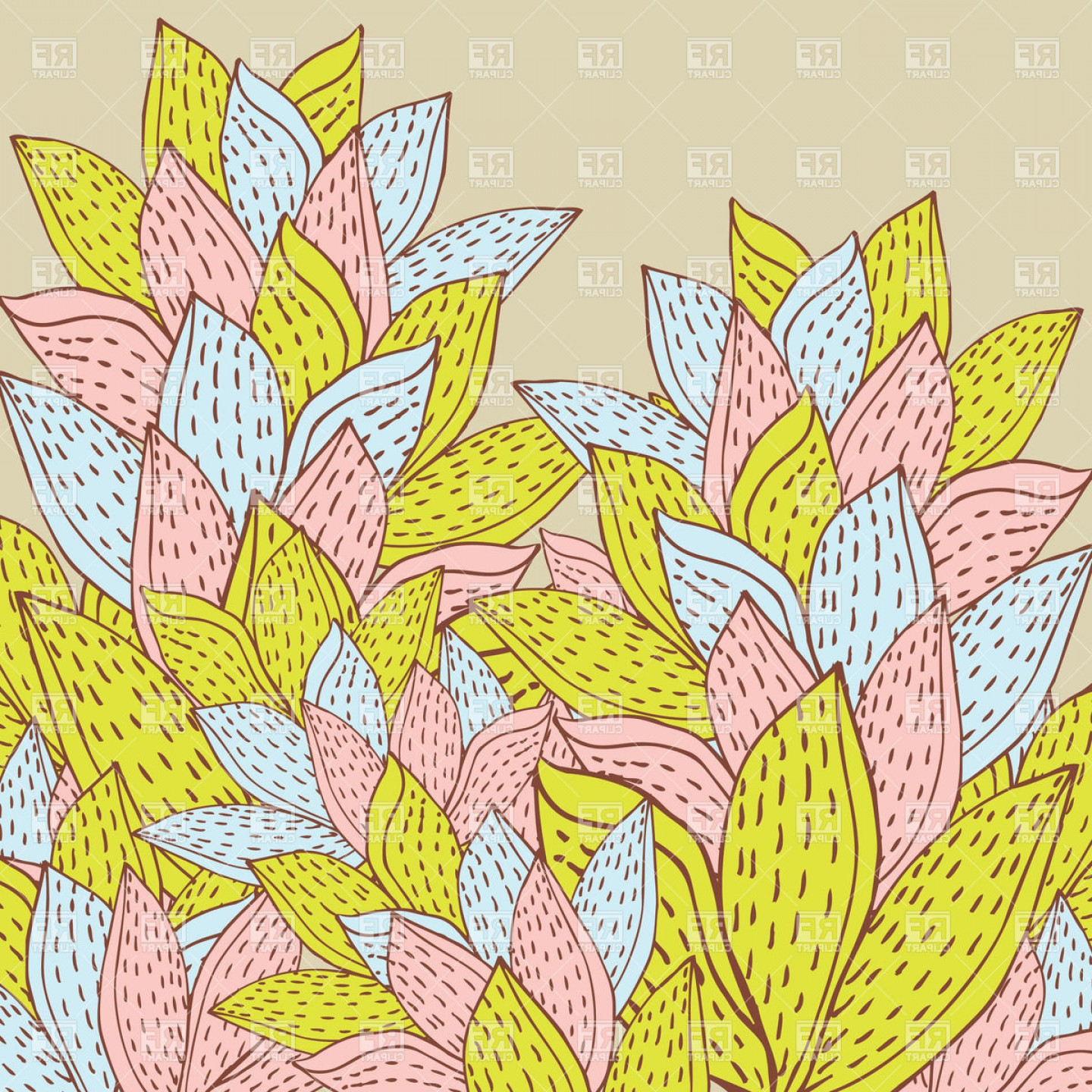 Foliage Vector: Abstract Bunch Of Autumn Foliage Vector Clipart