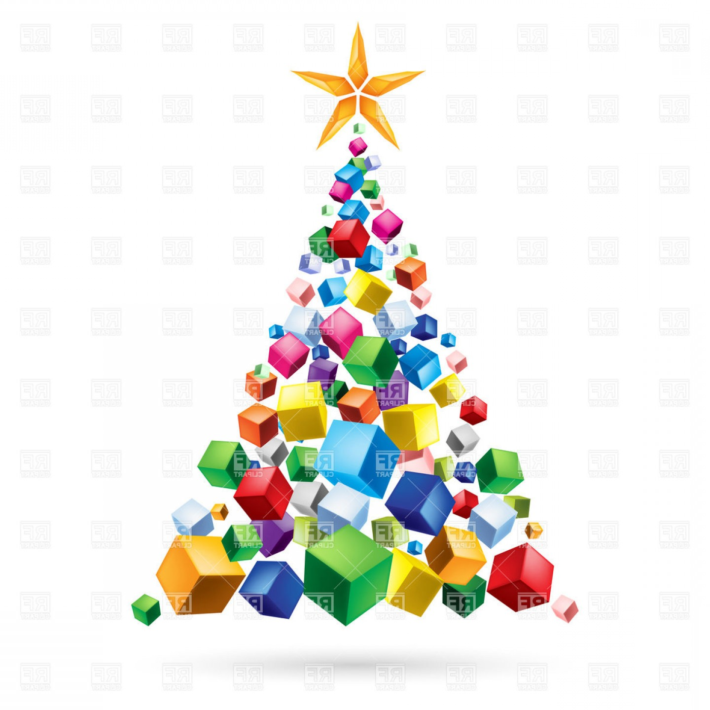 Christmas Tree Art Large Vector Format: Abstract Christmas Tree Of Gifts Vector Clipart