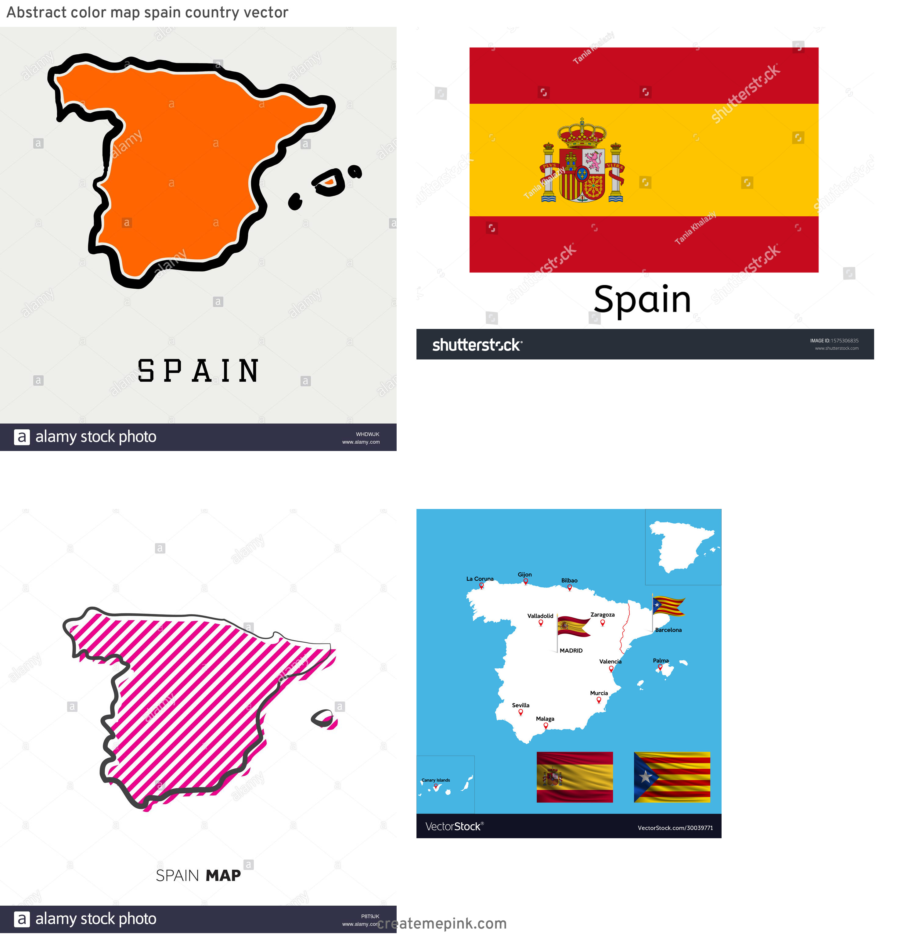 Spain Country Vectors Line: Abstract Color Map Spain Country Vector