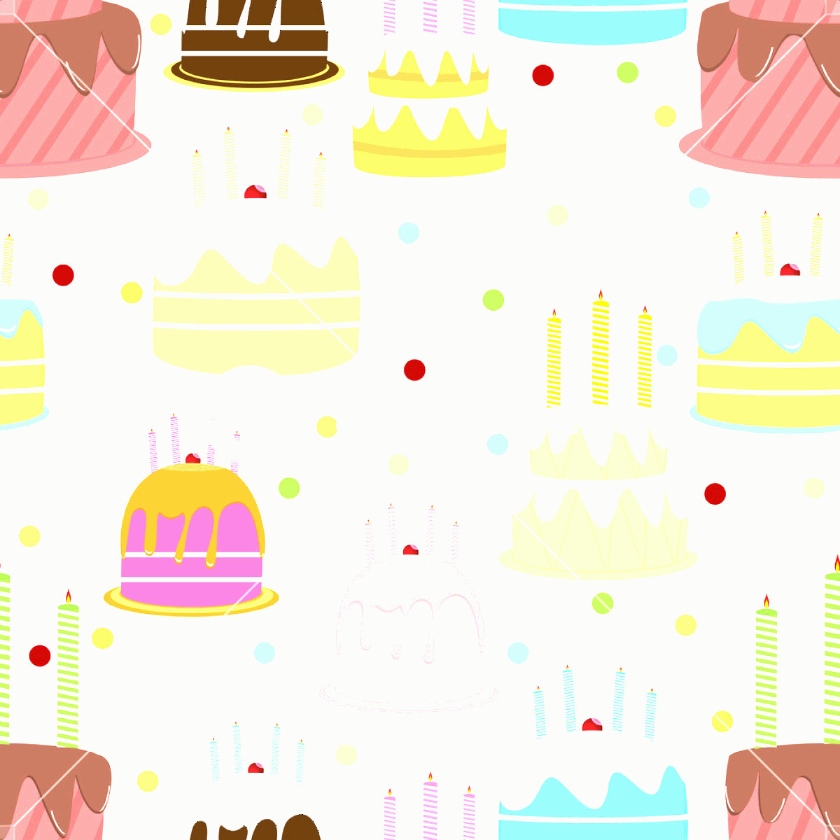 Vector Abstract Art Cake: Abstract Colorful Seamless Pattern With Cake Vector Illustration Rzeqleixdzjgqowk